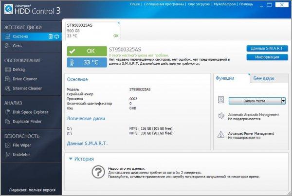 Ashampoo HDD Control – проверить состояние жесткого диска
